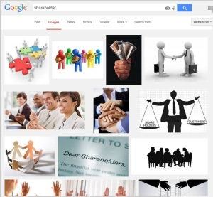 It's understandable that most people may be uncomfortable with the notion of being a shareholder - is it because we find it difficult to picture what a shareholder is?  This what a Google image search returns - lots of unhelpful stock photography and abstract clip art